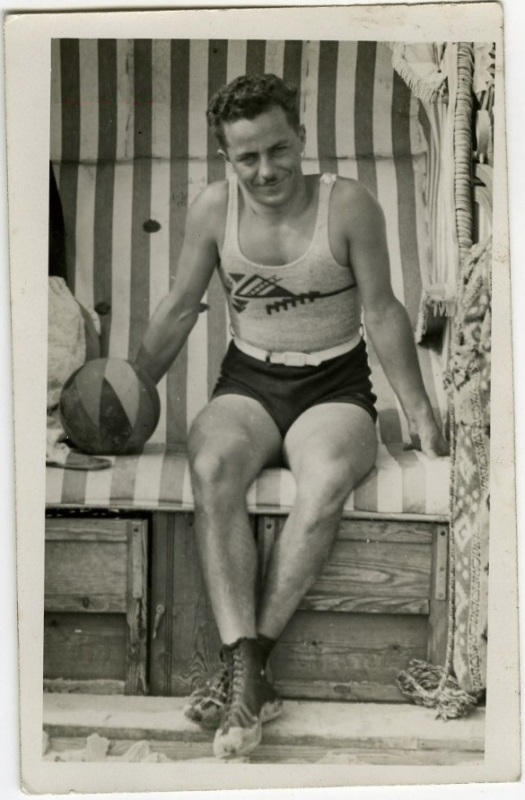 EOF Vintage Menswear- Summer Style - 1930s Graphic Tank - Cool Swimsuit Dude- Moustache