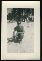 EOF Vintage Menswear- Summer Style - 1940S Cool Guy in Sun Glasses on Beach- Vernacular