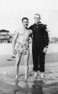 EOF Vintage Menswear- Summer Style - 1940S Flower Swim Shorts- Cool Guys Pose- Snapshot