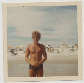EOF Vintage Menswear- Summer Style - 1970s Polaroid Pic- Swimwear- Blonde with Glasses