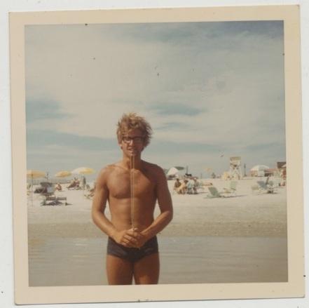 EOF Vintage Menswear- Summer Style - 1970s Polaroid Pic- Swimwear- Blonde with Glasses
