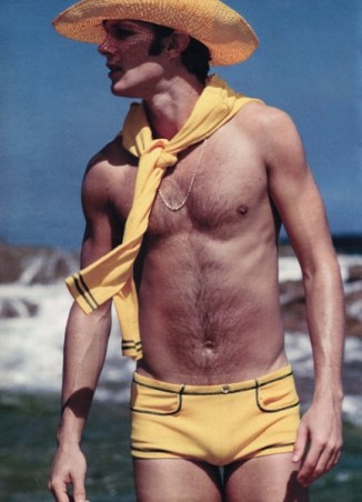 EOF Vintage Menswear- Summer Style - 1970S Yellow Guy- Bathing Suit