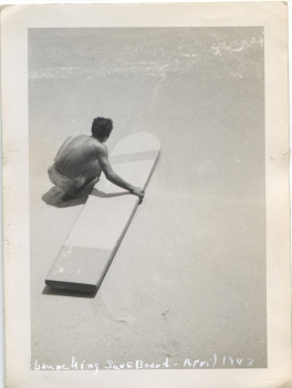 EOF Vintage Menswear- Summer Style - Launching Surf Board, April 1943