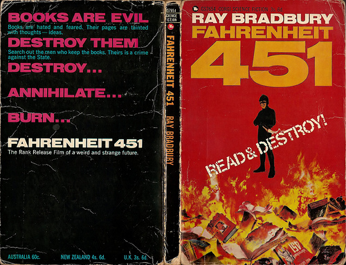 Farenheit 451 book burning vintage cover