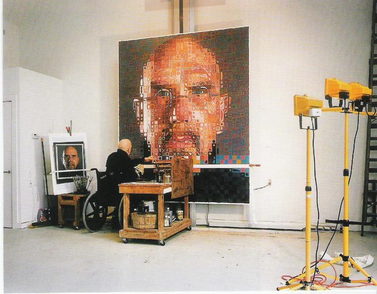 Chuck Close in his studio.