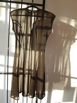 90s Black and Copper Metallic Sheer Dress