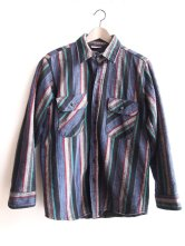 Fields and Streams - 1990s Grunge Surf Striped Blanket Shirt