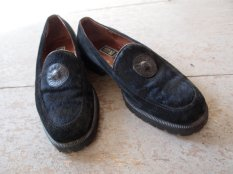 Mens 90s Versace Calf Hair Creeper Loafers- The Eye of Faith Vintage