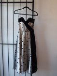 Silver and Black Velvet Polka Dot Prom Dress