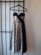 Silver and Black Velvet Polka Dot Prom Dress
