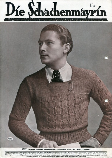 1930s mens catalogue cover- sweater- the eye of faith vintage