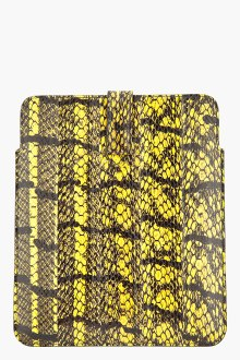alexander mcqueen- black and yellow meshed snake ipad case