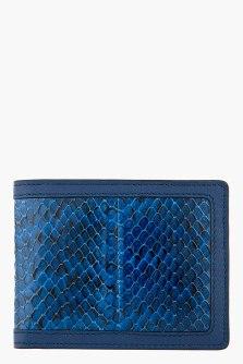 alexander mcqueen- blue snakeskin money clip wallet- 41259M005057
