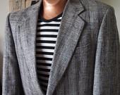 Dapper Vintage Classic Black, Grey, Multi-Colour Woven Tweed Tailored Sports Coat Mens Blazer - MEDIUM - $80