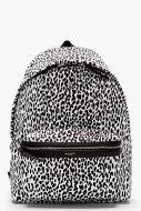 Saint Laurent- White and Black Leopard Print Backpack