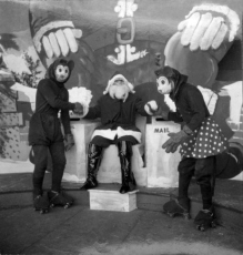 Scariest Vintage Santa Photo Ever. Not Santa that's scary, but what are those beside him?