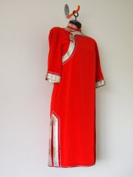 """Pretty """"In the Mood for Love"""" Hand-Crafted Silk Vintage Long Sleeved Asian Oriental Red Evening Cocktail Dress - SMALL - $125"""