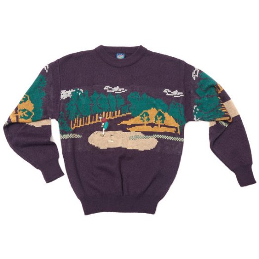 The Eye of Faith Vintage- Cool Graphic Menswear Golf Scene Sweater