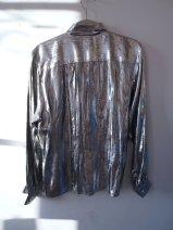Dress the Part- Kurt Cobain- Heart Shaped Box- Eye of Faith Vintage-Silver Metallic Foil Grunge Shirt- Gaultier Inspiration- 1