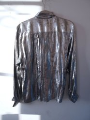 Dress the Part- Kurt Cobain- Heart Shaped Box- Eye of Faith Vintage-Silver Metallic Foil Grunge Shirt- Gaultier Inspiration- 1