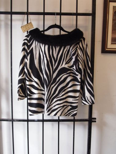 eof - suddenly seeking sweater girls 2015 - vintage- black and white zebra sweater