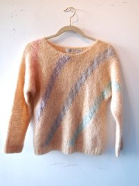 EOF - suddenly seeking sweater girls- pink stripe mohair sweater