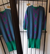 EOF - suddenly seeking sweater girls- vintage inspiration- green and purple graphic sweater dress