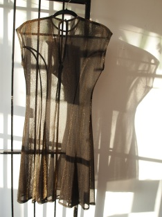 Black and Copper Sheer Party Dress- The Eye of Faith Vintage