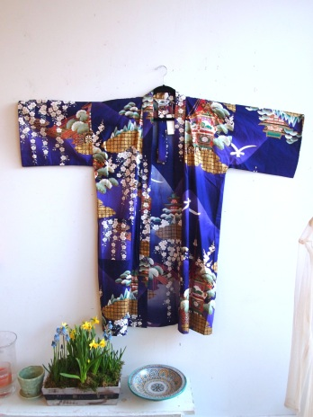 Vintage Purple and Gold Metallic Cotton Kimono- The Eye of Faith Vintage