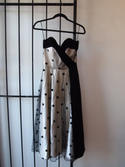 Silver and Black Velvet Polka Dot Dress- The Eye of Faith Vintage