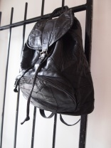 Vintage Black Leather Backpack- The Eye of Faith