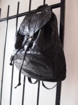 Vintage Black Leather Backpack- The Eye of Faith