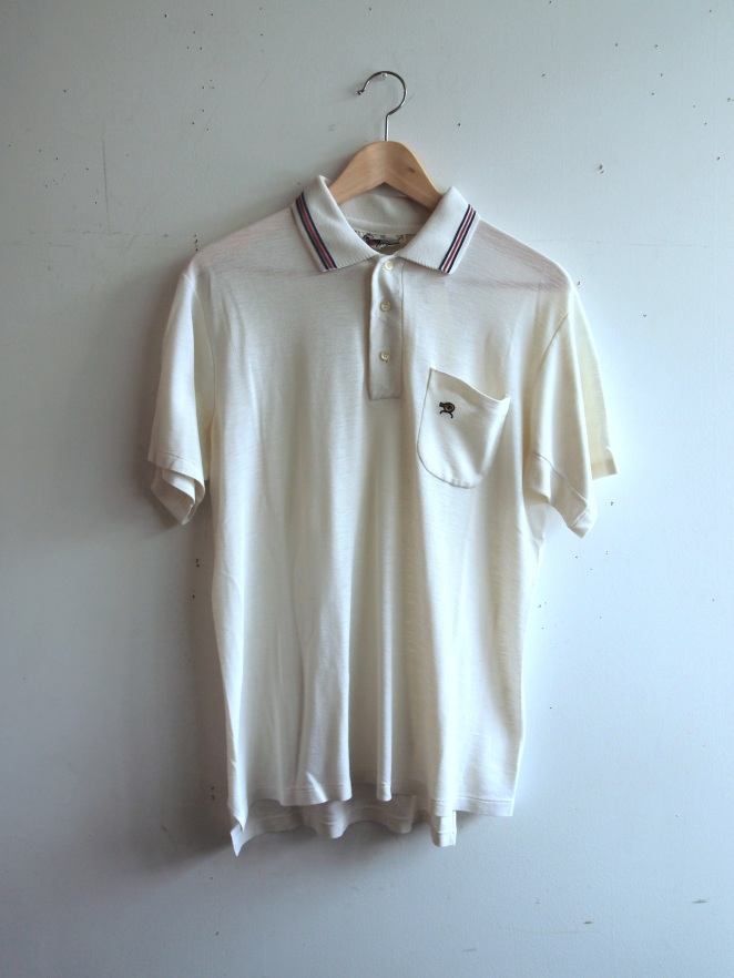 Vintage 1970s Mens Bjorn Borg Inspired Classic White Tennis Shirt with Red and Blue Stripe Collar- The Eye of Faith Vintage