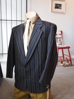 1940S MENS STRIPED SECRET SOCIETY BLAZER- THE EYE OF FAITH