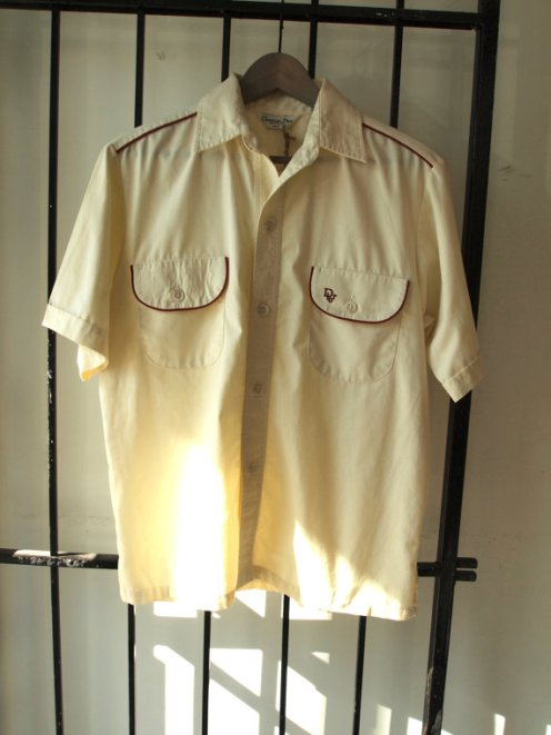1960s Vintage Mens Christian Dior Cream Summer Shirt with Ruby Red Ribbing