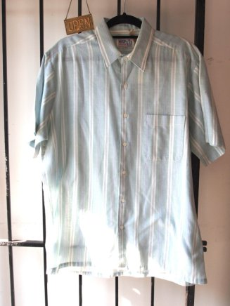1960s Striped Mint Green Pastel Summer Shirt