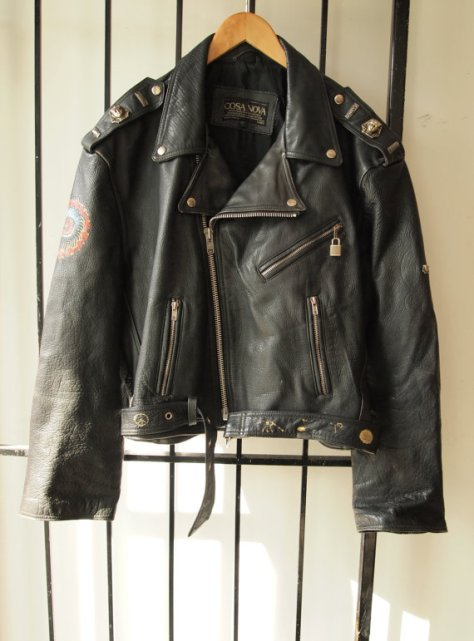 1970S Psychedelic Lucifer Rising Esoteric Occult Black Leather Motorcycle Jacket- The Eye of Faith