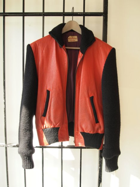 Bad Ass 1950s Kingsway Black Knit and Red Leather Jacket