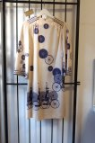Gorgeous Rare Vintage 1970s Paganne Ivory and Purple Charming Whimsical Bicycle Graphic Print Boho Luxury Statement Dress with Bell sleeves