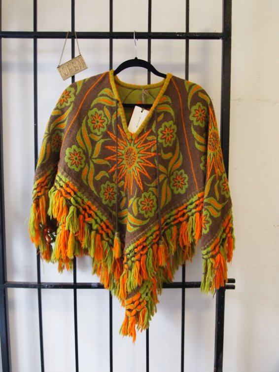 Gorgeous Vintage 1960s Handmade Swiss Vibrant Earth Tone Chartreuse Knit Boho Hippie Folklore Grunge Bad Ass Graphic Multicolor Poncho Cape