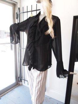 Rare 1970s Designer Marc Allan Bell Sleeve Sheer Black Sexy Slouchy California Boho Chic Urban Witch Street Chic Button Up Ruffle Shirt