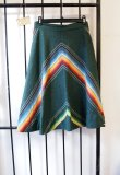 Sweet 1960s Vintage Classic Southwest Boho California Surf Chic Handmade Striped Hunter Green Mexican Blanket Graphic Skirt