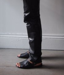 Vintage 1980s Black Leather Skinny Pant and Vintage 1970s Mens Black Woven Leather Sandal- The Eye of Faith