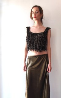Vintage 1990s Jean Paul Gaultier Looped Velvet Fringe Cropped Bustier Corset Tank Top- The Eye of Faith