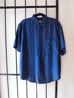 Classic Vintage Mens Oversized Navy Blue Silk Summer Shirt