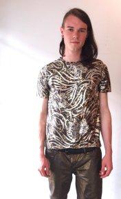 Vintage Shiny Mens Metallic All Over Graphic Foil Liquid T-Shirt - The Eye of Faith