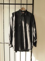 Vintage Slouchy Mens Black Silk Summer Shirt- The Eye of Faith