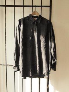 Vintage Slouchy Mens Black Silk Summer Shirt- The Eye of Faith
