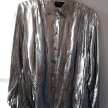 Dress the Part- Kurt Cobain- Heart Shaped Box- Eye of Faith Vintage-Silver Metallic Foil Grunge Shirt- Gaultier Inspiration- 2