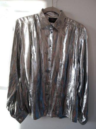Dress the Part- Kurt Cobain- Heart Shaped Box- Eye of Faith Vintage-Silver Metallic Foil Grunge Shirt- Gaultier Inspiration- 2